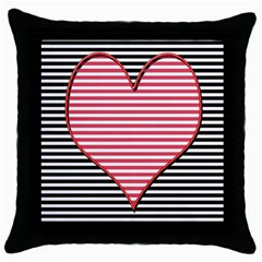 Heart Stripes Symbol Striped Throw Pillow Case (black) by Nexatart