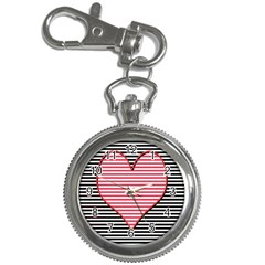 Heart Stripes Symbol Striped Key Chain Watches