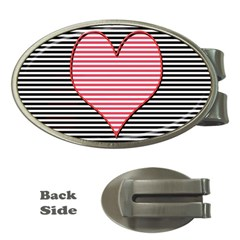 Heart Stripes Symbol Striped Money Clips (oval)  by Nexatart