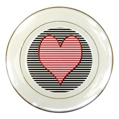 Heart Stripes Symbol Striped Porcelain Plates by Nexatart
