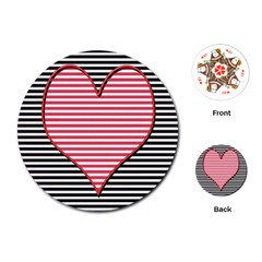 Heart Stripes Symbol Striped Playing Cards (round)  by Nexatart