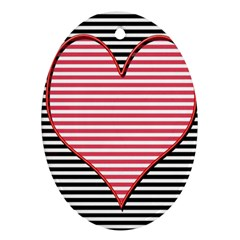 Heart Stripes Symbol Striped Oval Ornament (two Sides) by Nexatart