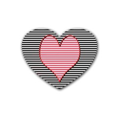 Heart Stripes Symbol Striped Heart Coaster (4 Pack)