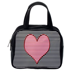 Heart Stripes Symbol Striped Classic Handbags (one Side)