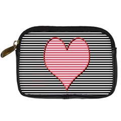 Heart Stripes Symbol Striped Digital Camera Cases by Nexatart