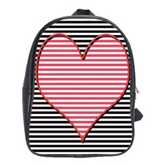 Heart Stripes Symbol Striped School Bags(large)
