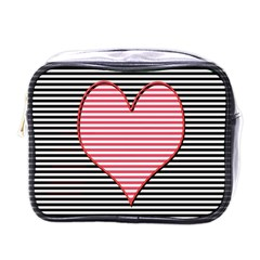 Heart Stripes Symbol Striped Mini Toiletries Bags by Nexatart