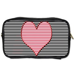 Heart Stripes Symbol Striped Toiletries Bags 2 Side
