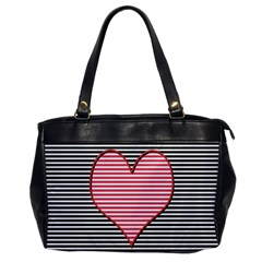 Heart Stripes Symbol Striped Office Handbags by Nexatart