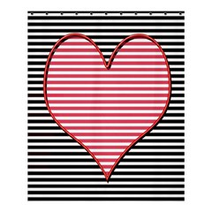 Heart Stripes Symbol Striped Shower Curtain 60  X 72  (medium)
