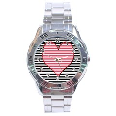 Heart Stripes Symbol Striped Stainless Steel Analogue Watch by Nexatart
