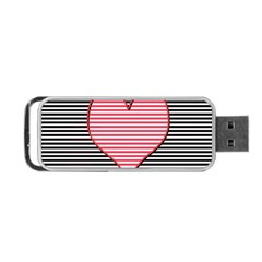 Heart Stripes Symbol Striped Portable Usb Flash (one Side)