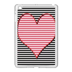 Heart Stripes Symbol Striped Apple Ipad Mini Case (white) by Nexatart