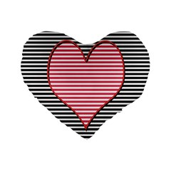Heart Stripes Symbol Striped Standard 16  Premium Heart Shape Cushions by Nexatart