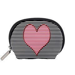 Heart Stripes Symbol Striped Accessory Pouches (small)  by Nexatart