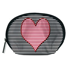 Heart Stripes Symbol Striped Accessory Pouches (medium)  by Nexatart