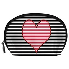 Heart Stripes Symbol Striped Accessory Pouches (large)