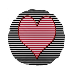 Heart Stripes Symbol Striped Standard 15  Premium Flano Round Cushions by Nexatart