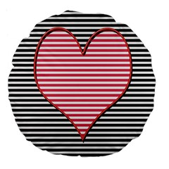 Heart Stripes Symbol Striped Large 18  Premium Flano Round Cushions by Nexatart