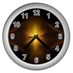Background Christmas Star Advent Wall Clocks (silver)  by Nexatart