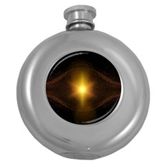 Background Christmas Star Advent Round Hip Flask (5 Oz) by Nexatart