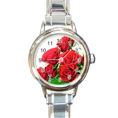 A Bouquet Of Roses On A White Background Round Italian Charm Watch by Nexatart