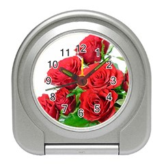 A Bouquet Of Roses On A White Background Travel Alarm Clocks