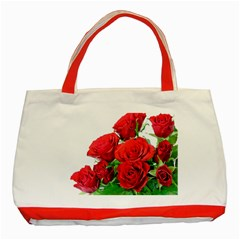 A Bouquet Of Roses On A White Background Classic Tote Bag (red)