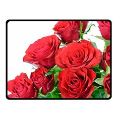 A Bouquet Of Roses On A White Background Fleece Blanket (small)