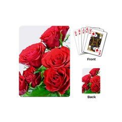 A Bouquet Of Roses On A White Background Playing Cards (mini)  by Nexatart