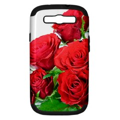 A Bouquet Of Roses On A White Background Samsung Galaxy S Iii Hardshell Case (pc+silicone) by Nexatart
