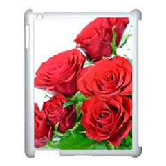 A Bouquet Of Roses On A White Background Apple Ipad 3/4 Case (white) by Nexatart