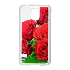 A Bouquet Of Roses On A White Background Samsung Galaxy S5 Case (white) by Nexatart