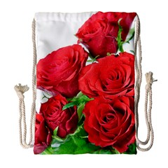 A Bouquet Of Roses On A White Background Drawstring Bag (large) by Nexatart