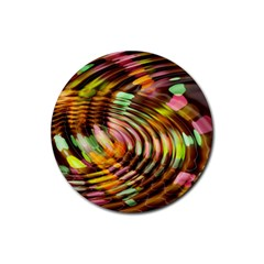 Wave Rings Circle Abstract Rubber Round Coaster (4 Pack)  by Nexatart