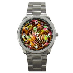 Wave Rings Circle Abstract Sport Metal Watch
