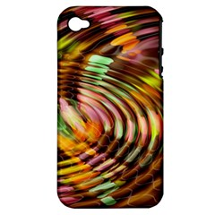 Wave Rings Circle Abstract Apple Iphone 4/4s Hardshell Case (pc+silicone) by Nexatart