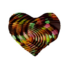 Wave Rings Circle Abstract Standard 16  Premium Heart Shape Cushions by Nexatart
