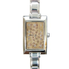 Parchment Paper Old Leaves Leaf Rectangle Italian Charm Watch by Nexatart