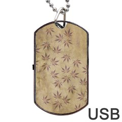 Parchment Paper Old Leaves Leaf Dog Tag Usb Flash (two Sides) by Nexatart