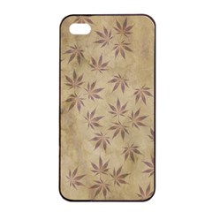 Parchment Paper Old Leaves Leaf Apple Iphone 4/4s Seamless Case (black) by Nexatart