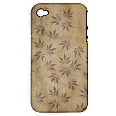 Parchment Paper Old Leaves Leaf Apple Iphone 4/4s Hardshell Case (pc+silicone) by Nexatart