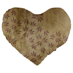 Parchment Paper Old Leaves Leaf Large 19  Premium Heart Shape Cushions