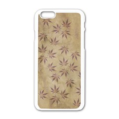 Parchment Paper Old Leaves Leaf Apple Iphone 6/6s White Enamel Case by Nexatart