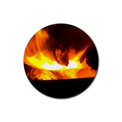 Fire Rays Mystical Burn Atmosphere Rubber Coaster (round)  by Nexatart