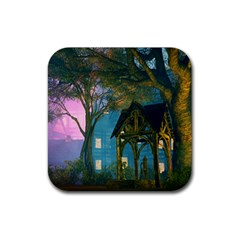 Background Forest Trees Nature Rubber Coaster (square)
