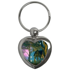 Background Forest Trees Nature Key Chains (heart)  by Nexatart