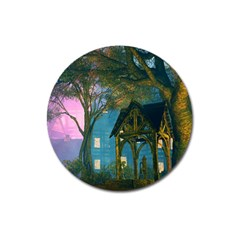 Background Forest Trees Nature Magnet 3  (round) by Nexatart