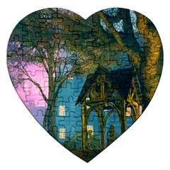 Background Forest Trees Nature Jigsaw Puzzle (heart) by Nexatart