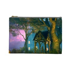 Background Forest Trees Nature Cosmetic Bag (large)  by Nexatart